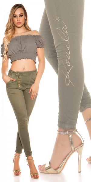 Sexy KouCla Skinny Jeans mit Knopfleiste