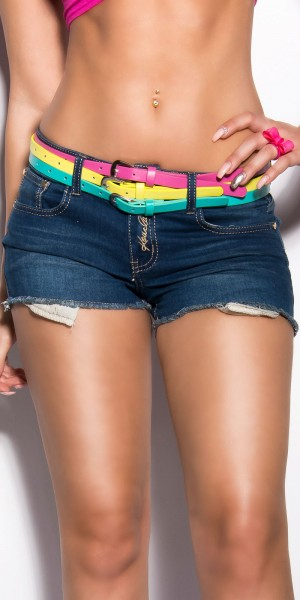 Sexy KouCla Jeans-Shorts mit drei Gürteln