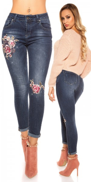 Sexy Skinny Jeans mit Perlen und Stickerei