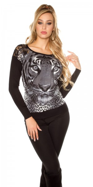 Trendy Pullover mit Tigerdruck und Strass