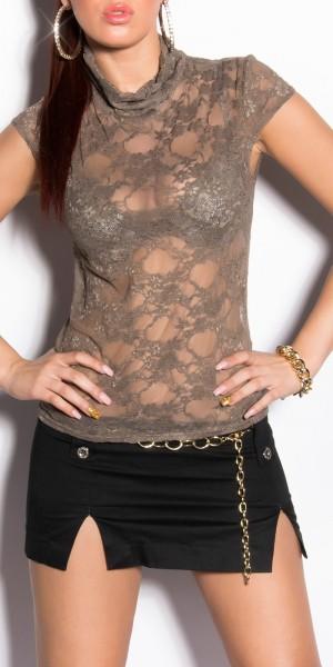 Sexy Rollkragen-Kurzarm-Shirt transparent