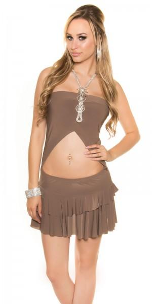 Sexy Neck-Minikleid, bauchfrei mit Strass-Träger