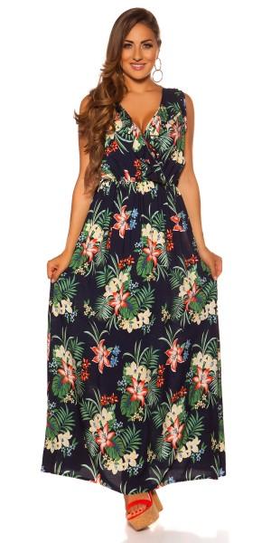 Trendy Maxi Sommerkleid Blumenprint