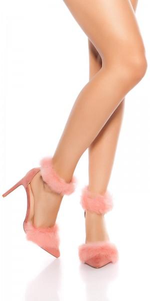 Sexy Sling High Heels mit fake Pelz