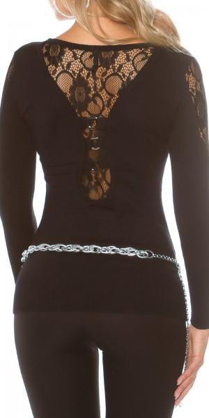 Sexy KouCla Pullover mit Spitze und Ringen