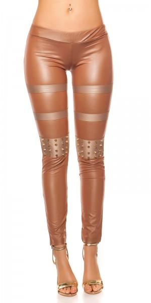 Sexy KouCla Lederlook-Leggings mit Nieten