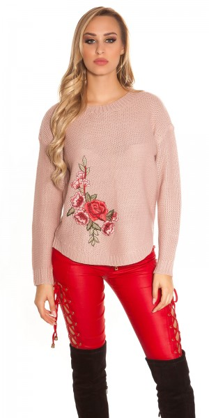Trendy KouCla Strickpulli mit Stickerei