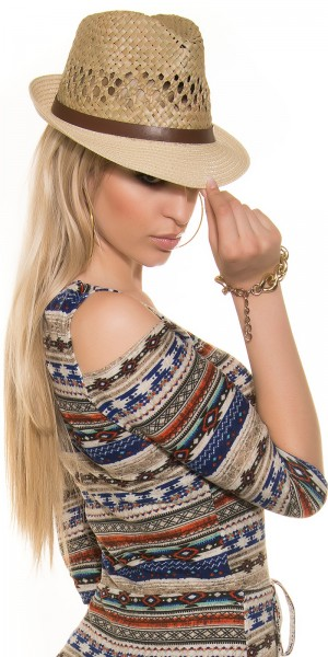 Trendy Stroh-Hut mit Lederlookband