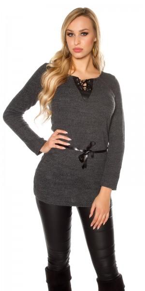 Trendy Pullover mit fake Leder und Schnürung
