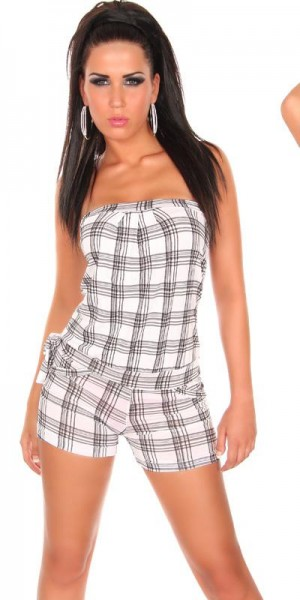 Sexy Bustier Overall im Karolook