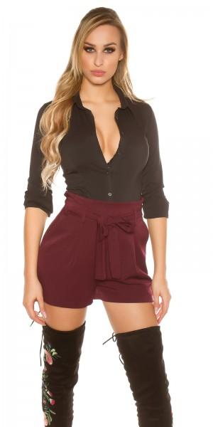 Sexy Bundfalten Shorts mit integriertem Gürtel