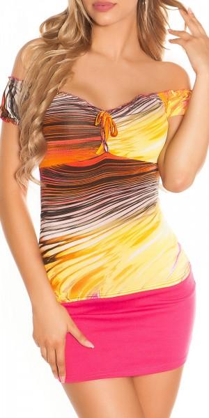 Sexy Latina Top mit Carmenneckline und Snakedesign