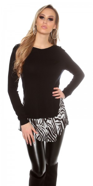 Trendy Koucla 2in1 FeinstrickPulli mit AnimalPrint