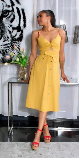Sexy Leinen Look Midi Kleid mit Cut Out