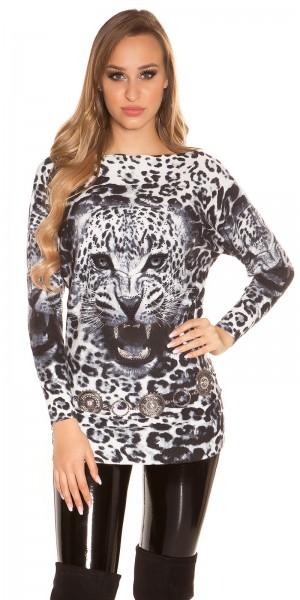 Sexy KouCla Fledermauspullover mit Leopardenprint