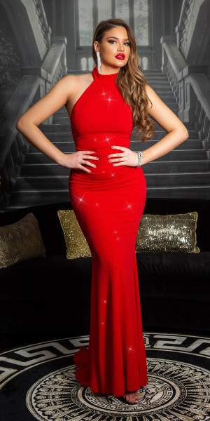 Sexy Red-Carpet KouCla Neck-Abendkleid mit Glitzer