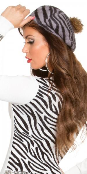 Trendy Zebra Baskenmütze mit PomPon