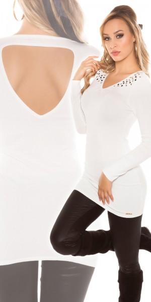 Sexy KouCla Longpulli mit Nieten und Rücken-Cutout