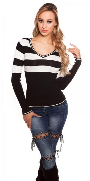 Sexy KouCla Feinstrick-Pullover mit Streifen