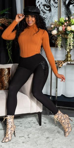 Sexy Highwaist Leggings mit Kunstleder Einsatz
