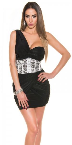 Sexy OneShoulder Minikleid im Korsagen-Look