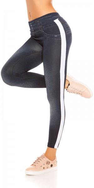 Trendy Thermo Jeanslook Leggings mit Streifen