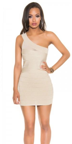 Sexy Feinstrick One-Shoulder Kleid mit Lurex