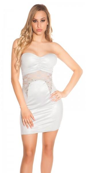 Sexy Bandeau Party-Kleid mit Spitze und Perlen