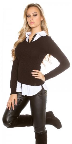 Trendy KouCla 2in1 Hemd Pullover