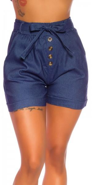 Sexy JeansLook Highwaist Shorts mit Gürtel