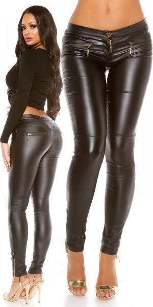 Sexy KouCla Lederlook Hose mit Zips