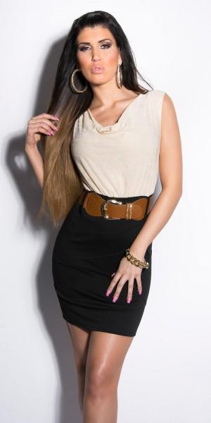 Sexy KouCla Minikleid Kurzarm mit Gürtel