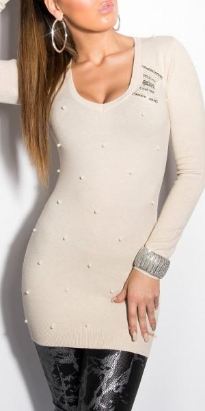 Sexy KouCla Long-Pullover mit Perlen