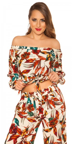 Sexy Off Shoulder Shirt Blumenprint mit Schlaufe