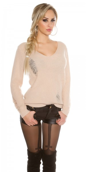 Trendy KouCla Strickpulli Destroyed Look