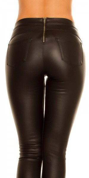 Sexy Thermo Treggings Lederlook mit Zip hinten