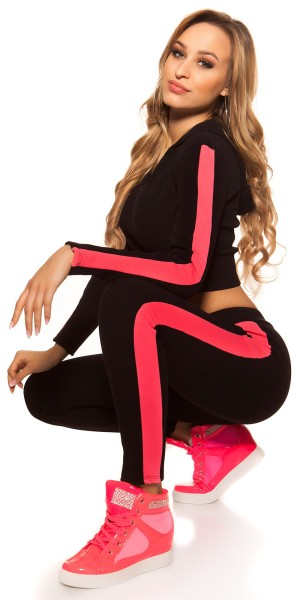 Trendy Workout-Outfit Crop Hoody & Leggings