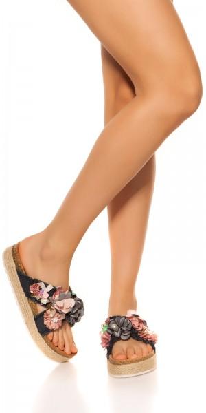 Trendy Jeans Sandalen mit Blumen